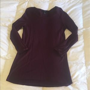 Forever 21 Burgundy Long Sleeve T-Shirt Dress.